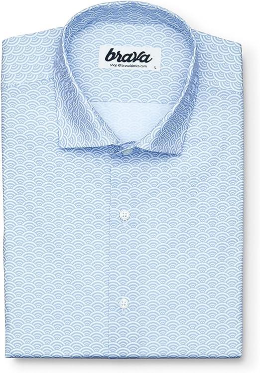 Brava Fabrics   Camisa Hombre Manga Larga Estampada   Camisa Blanca para Hombre   Camisa Casual Regular Fit   100% Algodón   Modelo Shibuya: Amazon.es: Ropa y accesorios