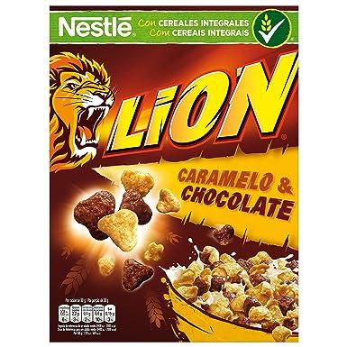 Cereales Nestlé Lion - Cereales de trigo y arroz tostados con crema de caramelo y chocolate