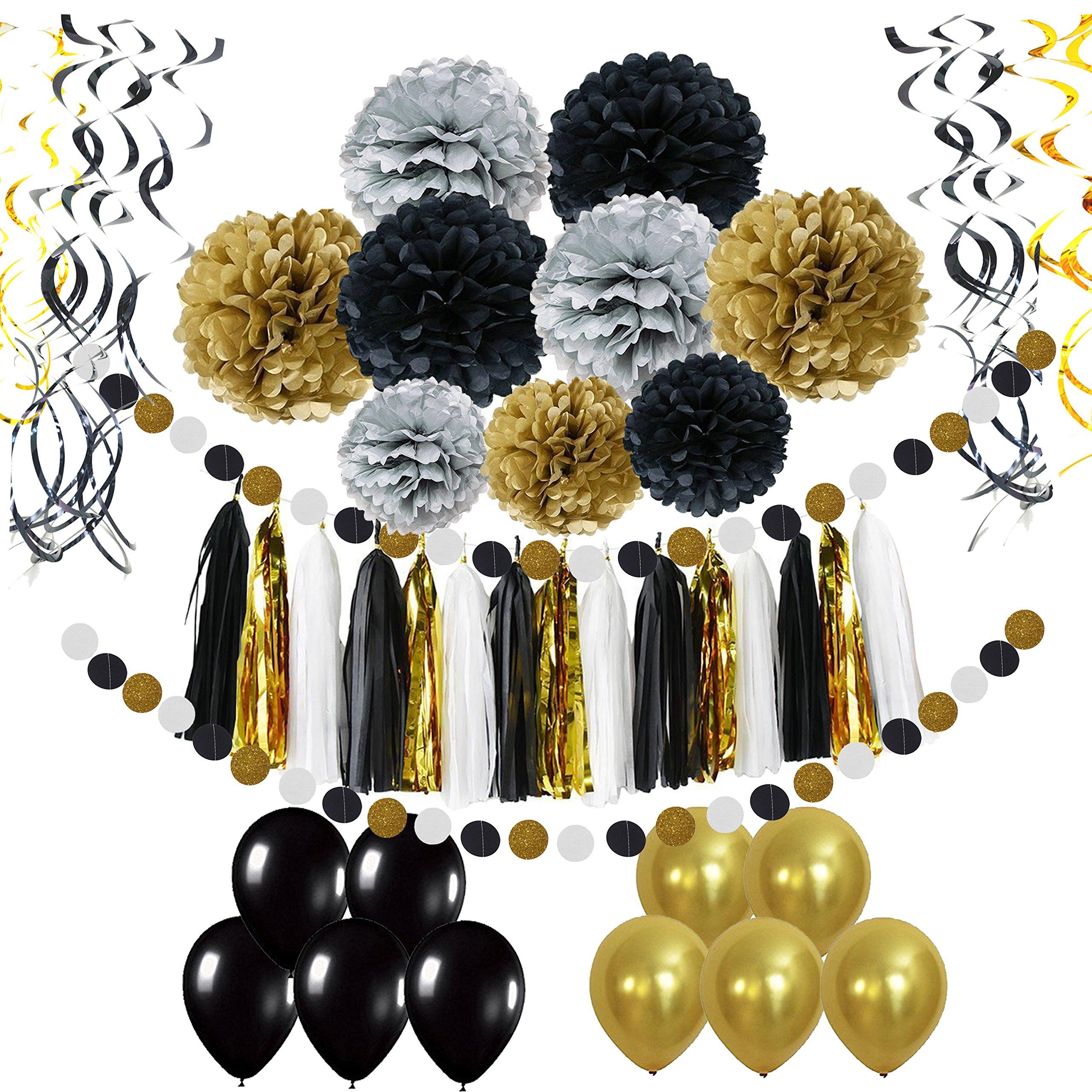 Pietypet Party Decorations, Paper Pom Poms Paper Tassel, Polka Dot Garland, Hanging Swirl Balloon Kit Baby Shower Wedding Birthday Celebration Table Wall Decoration - Black