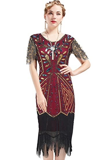 dbef2f6a8de1 ArtiDeco 1920s Flapper Dress Fringed Sequin Dress Roaring 20s Fancy Dress  Gatsby Costume Dress V Neck