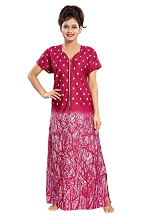 270b11ed0a TUCUTE Women s Branches Print Nighty Night Gown Nightwear with Long Zip  Pattern Bust