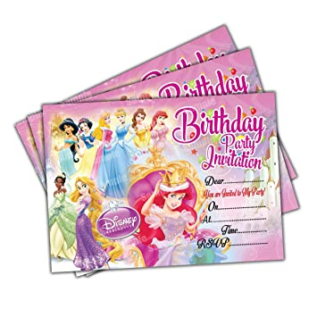 Invitations 20 X Disney Princess Kids Birthday Party Invites Cards Quality Girls
