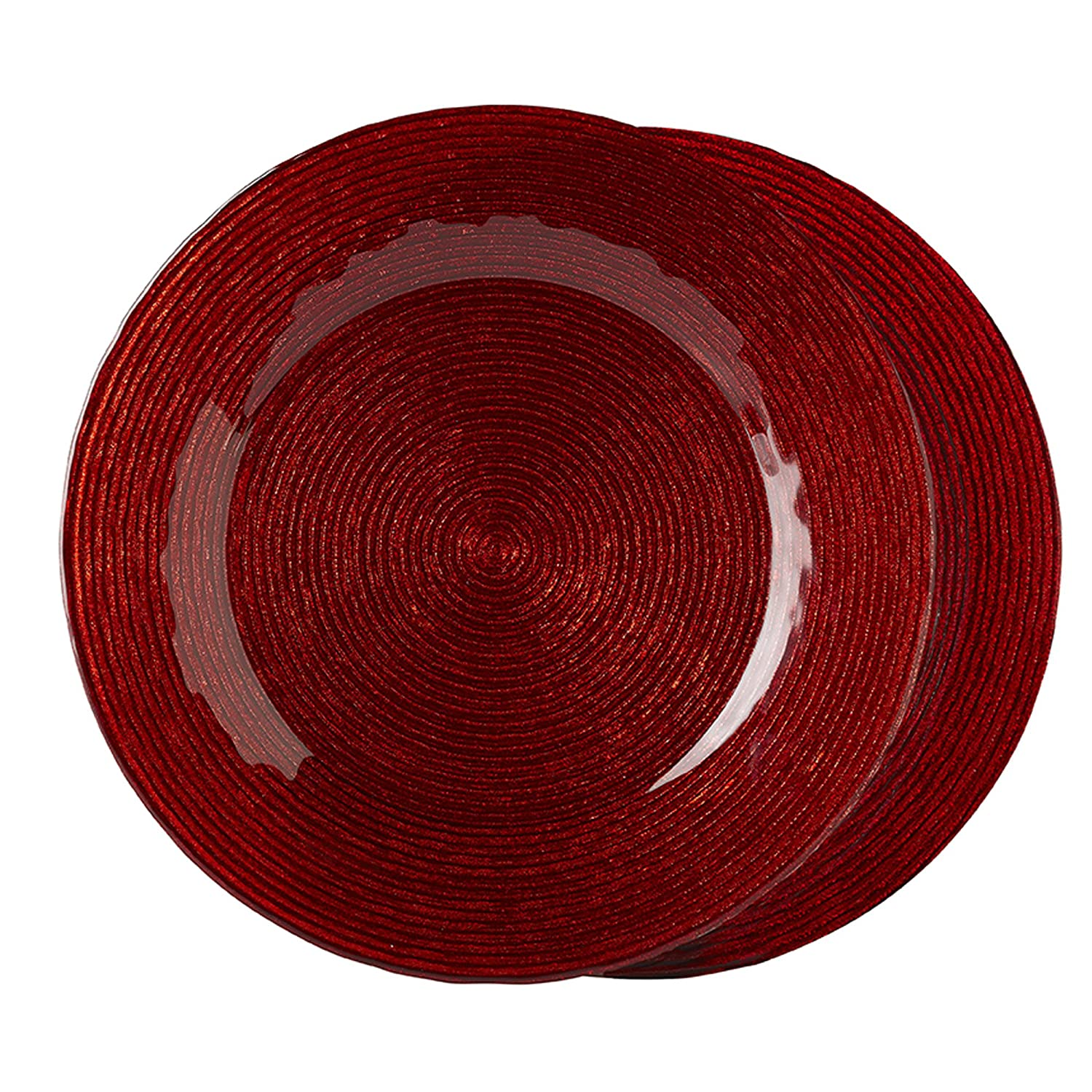 Red Wave Glass Charger Plate Set of 2
