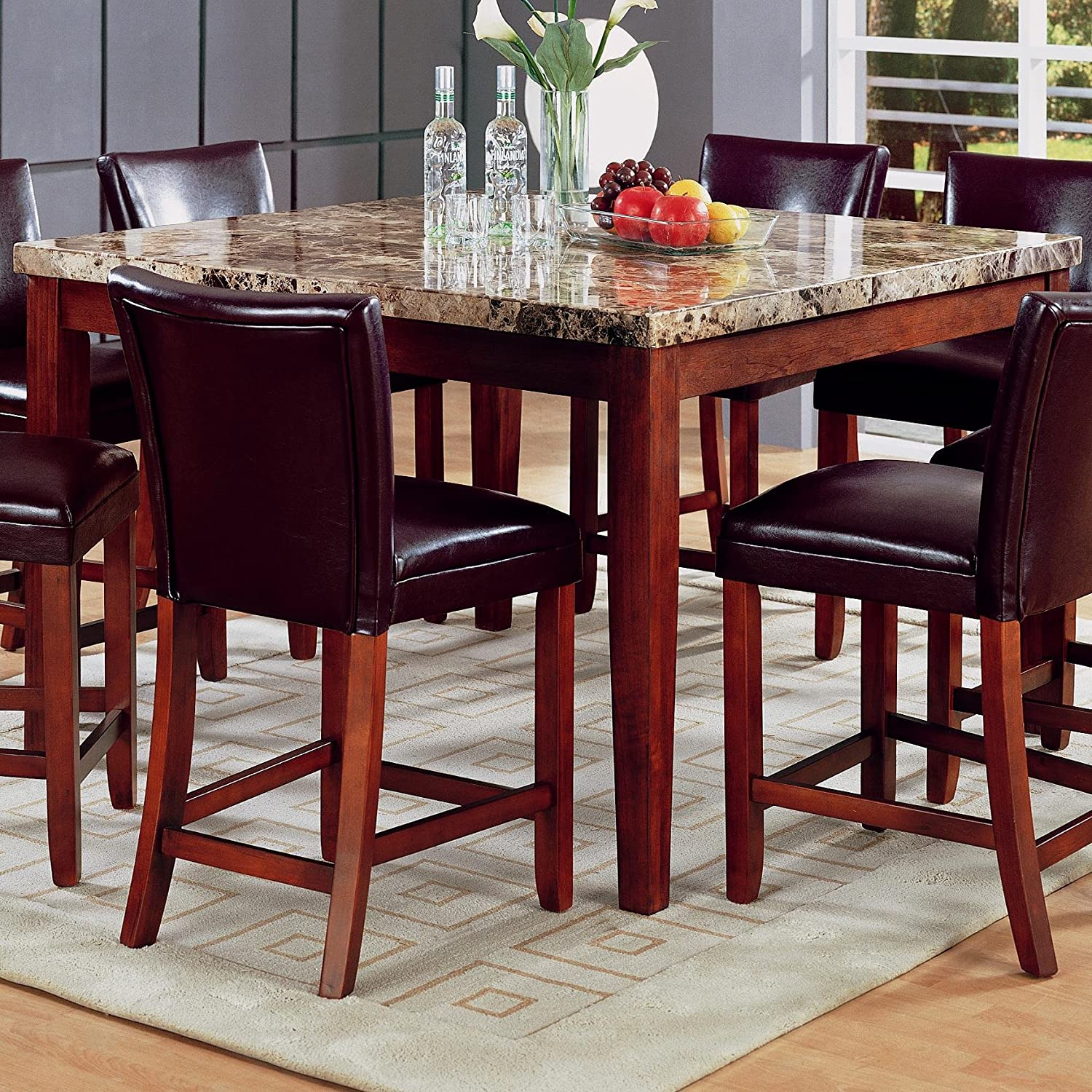 Coaster Classy Marble Top Square Dining Table 36 Inch Height Tables