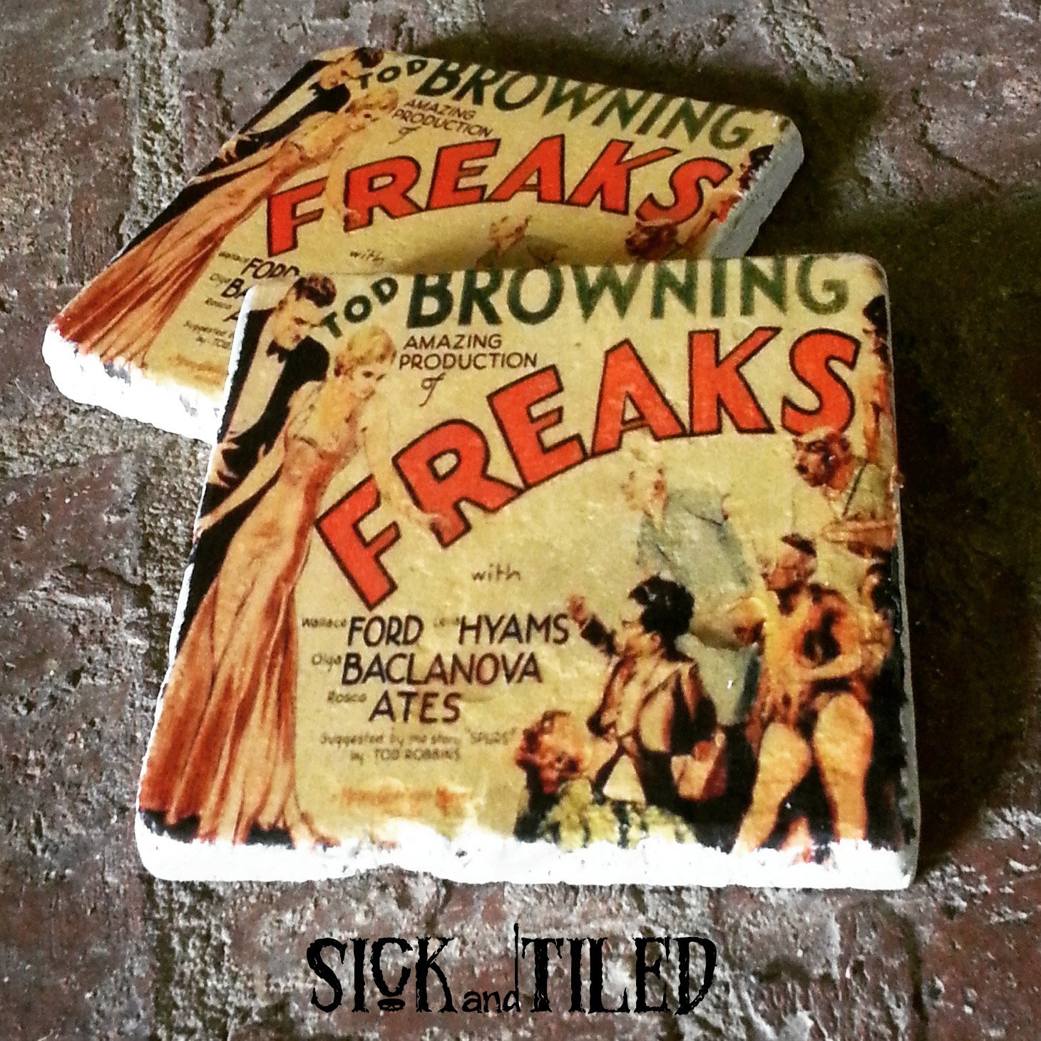 Freaks Vintage Horror Movie Poster Drink Coaster Set Of 2