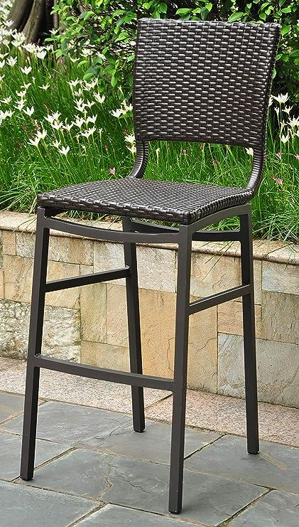 Peachy International Caravan 523690 Wicker Resin Aluminum Patio Bar Stool Set Of 2 Black Machost Co Dining Chair Design Ideas Machostcouk