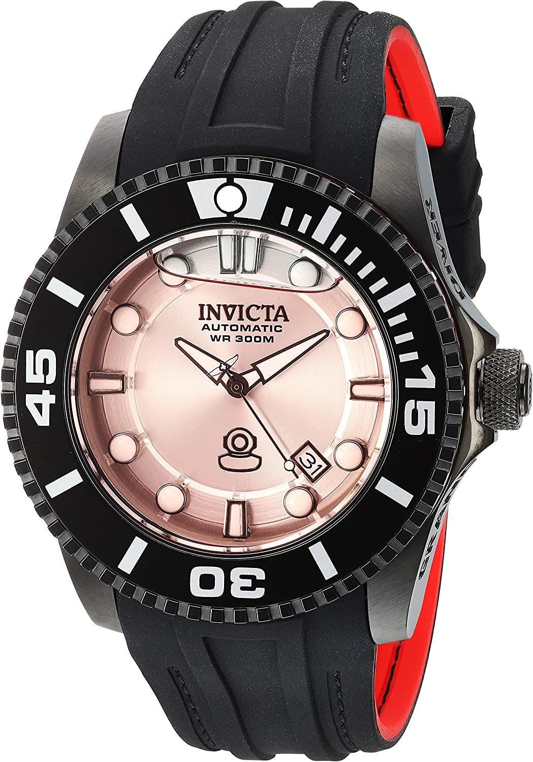 Invicta Men s Pro Diver Stainless Steel Automatic-self-Wind Diving Watch with Silicone Strap, Black, 25 Model 22995