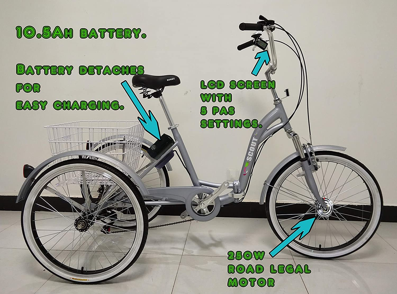 Scout - Triciclo eléctrico, Bastidor Plegable, de Aluminio, 6 Marchas, Motor de 250 W