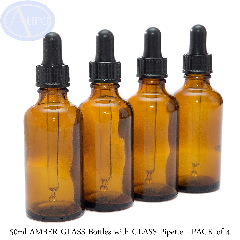 Botellas de cristal AMBER de 50 ml con pipetas de vidrio – Paquete de 4 Aura Essential Oils