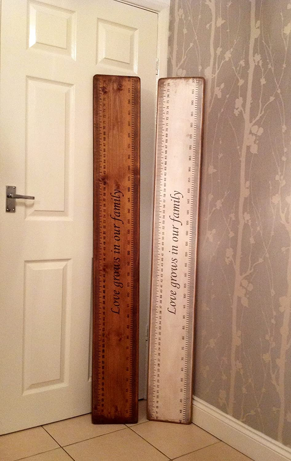 Handmade Shabby Chic Solid Wood Heigh Chart, Family Height Chart Saying Love Grows in Our Family by Vintage Product Designer Austin Sloan