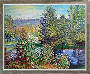 La Pastiche MON2626-FR-68780516X20 Corner of the Garden at Montgeron with Champagne Silhouette Framed Hand Painted Oil Reproduction, 16X20, Multi