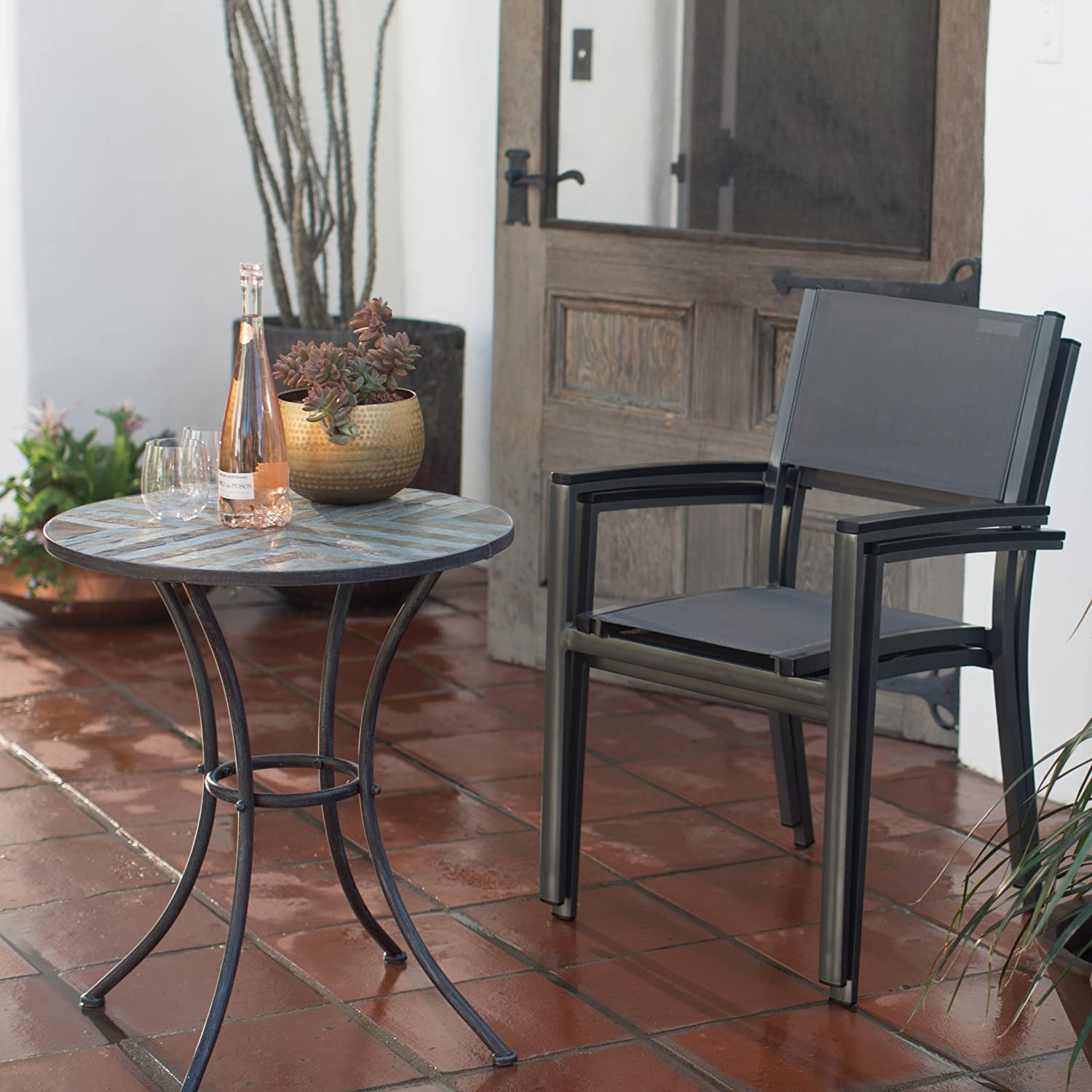 Modern Sling Stacking Outdoor Patio Dining Chair With Polywood Arms And Powder-Coated Aluminum Frame