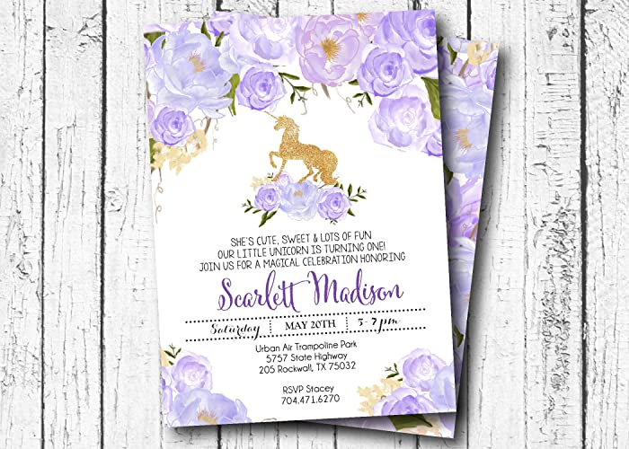 Unicorn Birthday Invitation GOld And Purple Flower Lavender Gold Invite Floral Sweet Sixteen 2nd