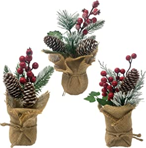 Small Potted Christmas Trees - Set of 3 Tabletop Arrangements in a Burlap Wrapped Base - Farmhouse Holiday Home Decorations - Red Berry and Flocked Pinecones - Stands Approx. 9 Inches Tall