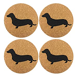 Dachshund Weiner Dog Gift Cork 4 Pack Drink Coasters Set - Basic Design Wiener Dog Decor - Perfect Decoration for Doxie Lovers