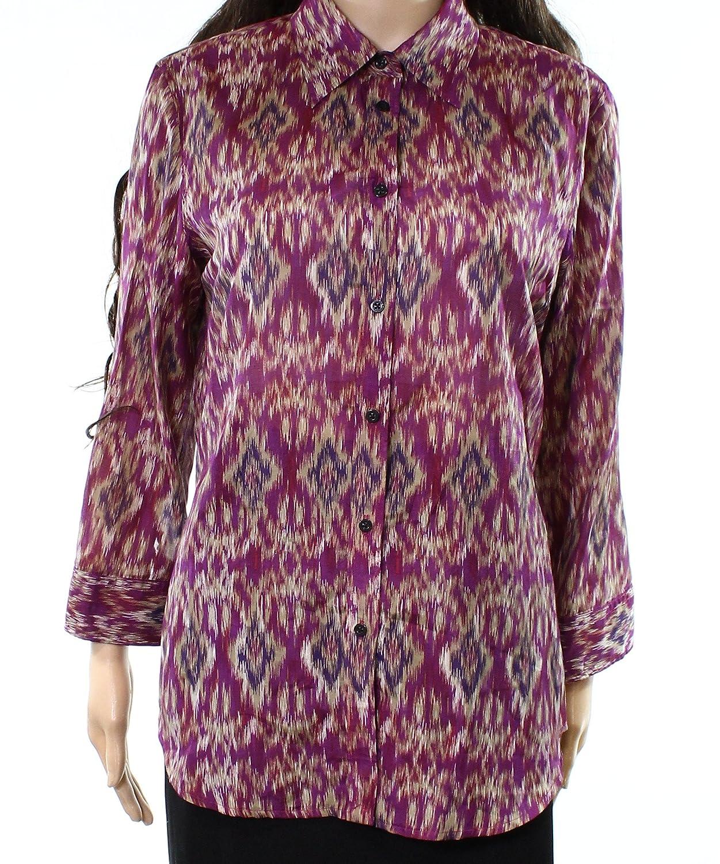 Lauren Ralph Lauren Womens Silk Blend Printed Button-Down Top 200673187001