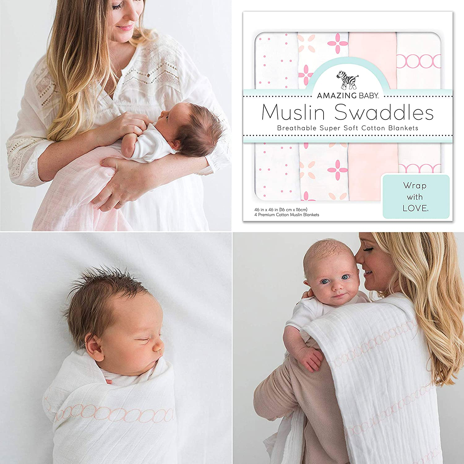 Amazing Baby Muslin Swaddle Blankets, Set of 4, Premium Cotton, Love You Forever, Pink