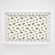 Carousel Designs Sage Cactus Mini Crib Sheet 1-Inch-4-Inch Depth - Organic 100% Cotton Fitted Mini Crib Sheet - Made in The USA