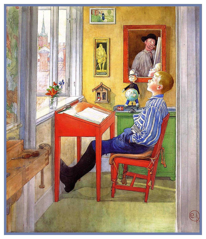 Orenco Originals Swedish Carl Larsson ULF Doing Homework Counted Cross Stitch Pattern