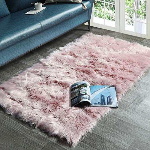 HAOCOO Faux Fur Sheepskin Rug Pink Shag Chair Coach Covers 4 x 5.3 Fluffy Wool Area Rug Large Soft Kids Play Mat Rectangle Floor Carpet for Bedroom Living Room Bedside Nursery Home Decor