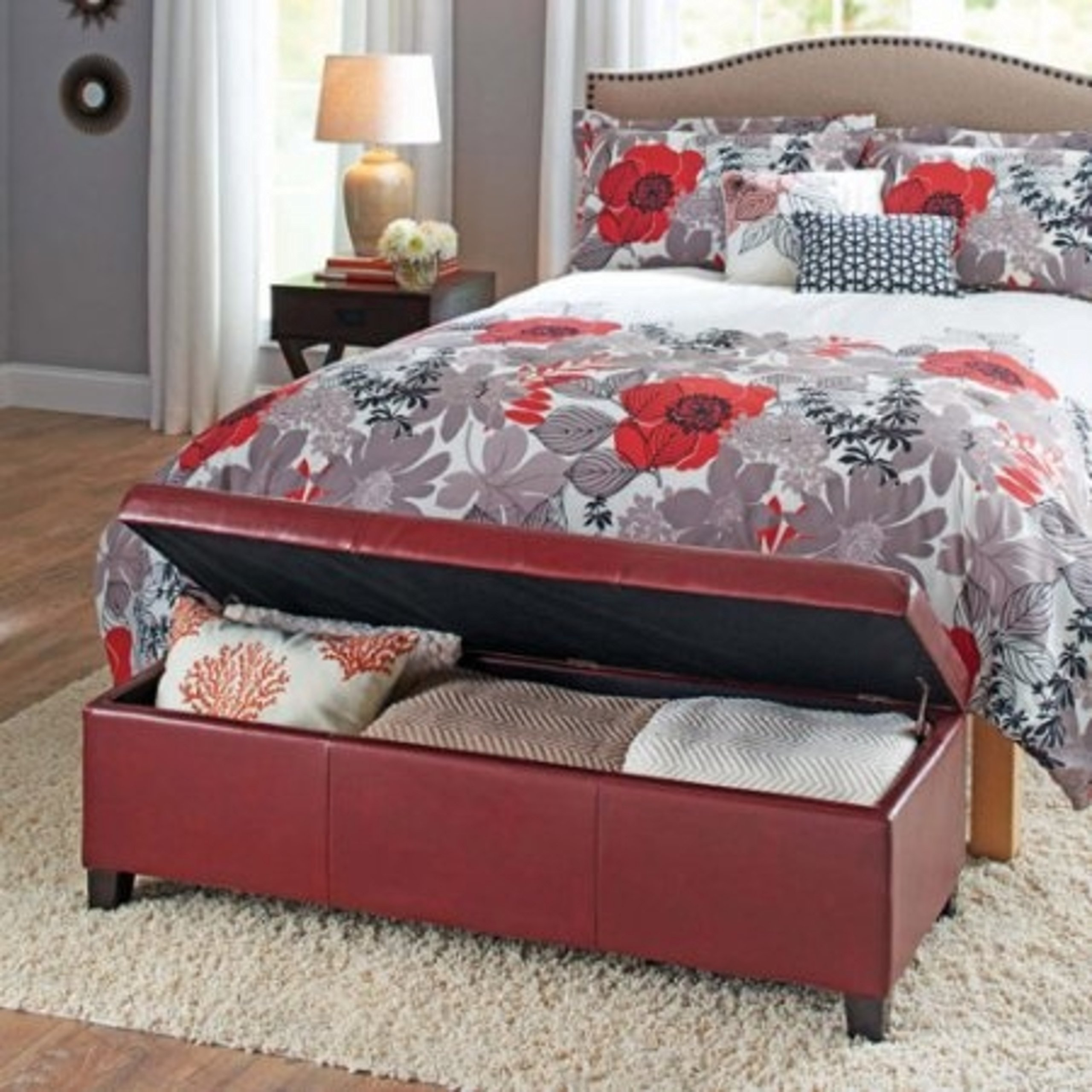 Contemporary Style Red Faux Leather Storage Furniture Ottoman