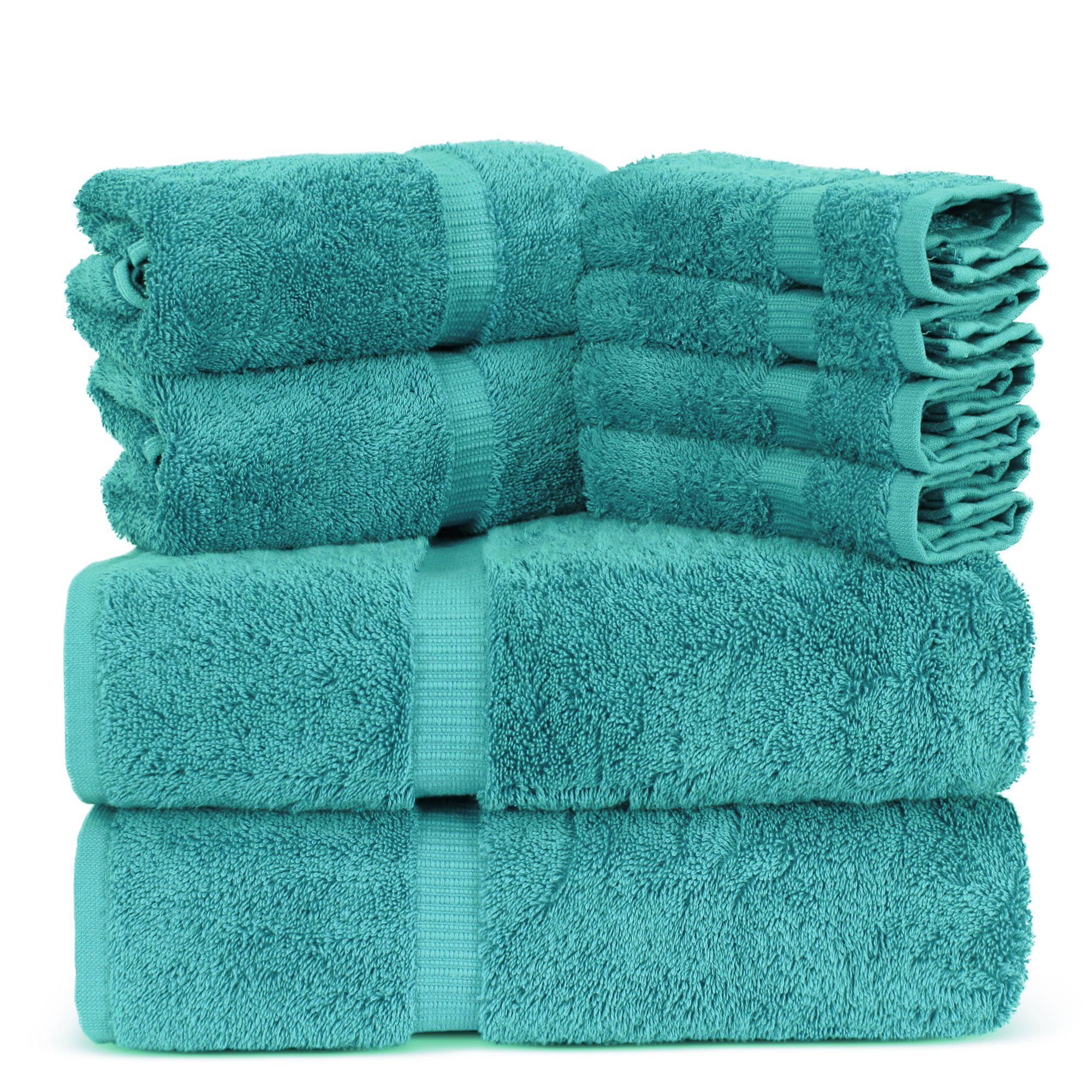 Towel Bazaar Luxury Hotel and Spa Quality Dobby Border 100% Turkish Cotton Eco-Friendly and Highly Absorbent Towel Set (Set of 8, Aqua Blue) by Towel Bazaar
