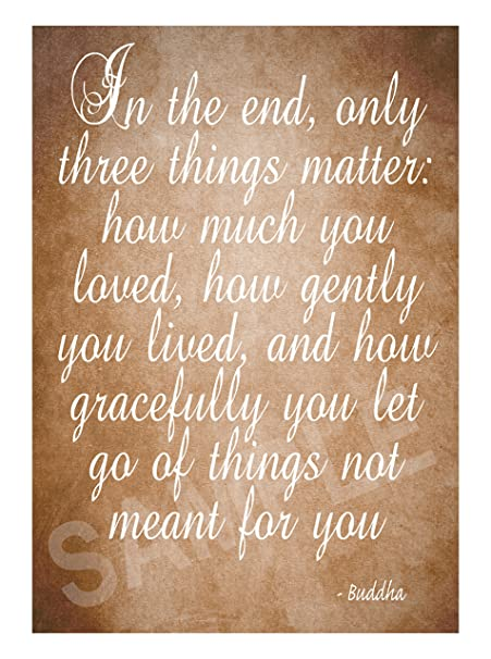 Buddha Quote In The End Only Three Things Matter Brown Poster