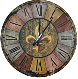 """Lulu Decor, Vintage French Country Style Rustic Round Wood Wall Clock 23.50"""", Large Roman Numerals (Vintage)"""