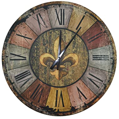 LuLu Decor, Vintage French Country Style Rustic Round Wood Wall Clock 23.50 , Large Roman Numerals (Vintage)