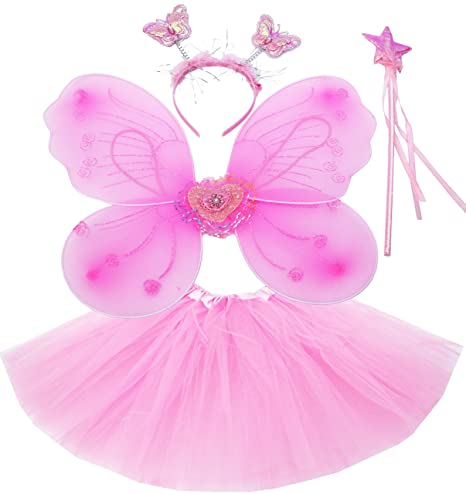 Fun Play Rosa hada disfraz - alas de mariposa niña por 3-8 años -