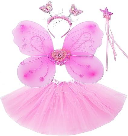 Fun Play - Disfraz de Hada para niñas - Alas de Mariposa, Tutú, Varita Mágica y Diadema - Disfraz de Mariposa o Ángel con Alas para niñas de 3-8 años ...