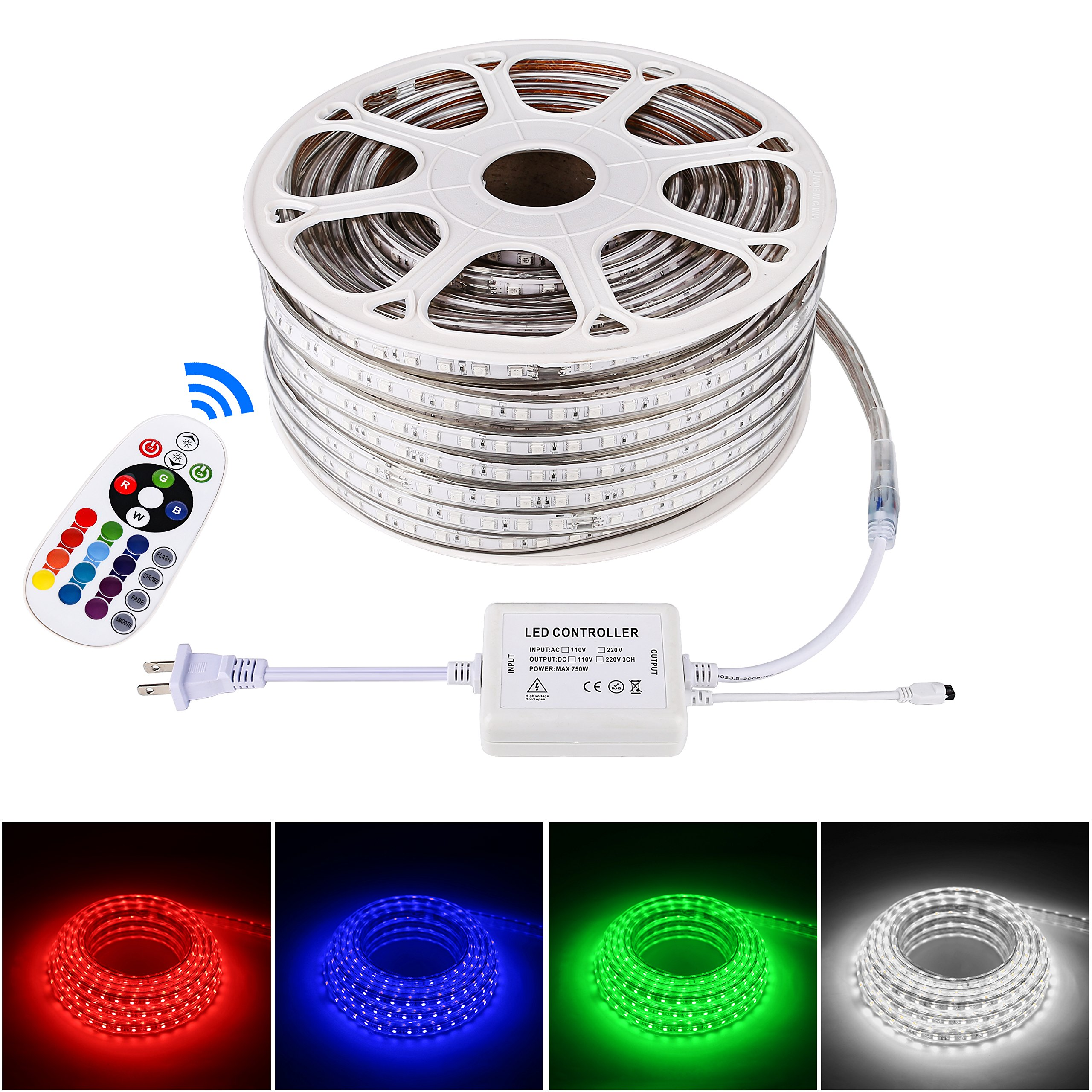 Brillihood Flexible LED RGB Neon Light strip, Multi Color Changing SMD 5050 LEDs, 110-120V AC, Dimmable Rope Light, IP65 Waterproof, Accessories Included, Christmas Holiday Decoration (50m/164ft)