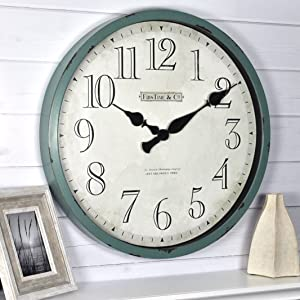 "FirsTime & Co. Bellamy Wall Clock, 24"", Aged Teal"