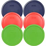 Pyrex 7402-PC Round 6/7 Cup Storage Container Lids for Glass Bowls (2-Blue, 2-Green, 2-Red)
