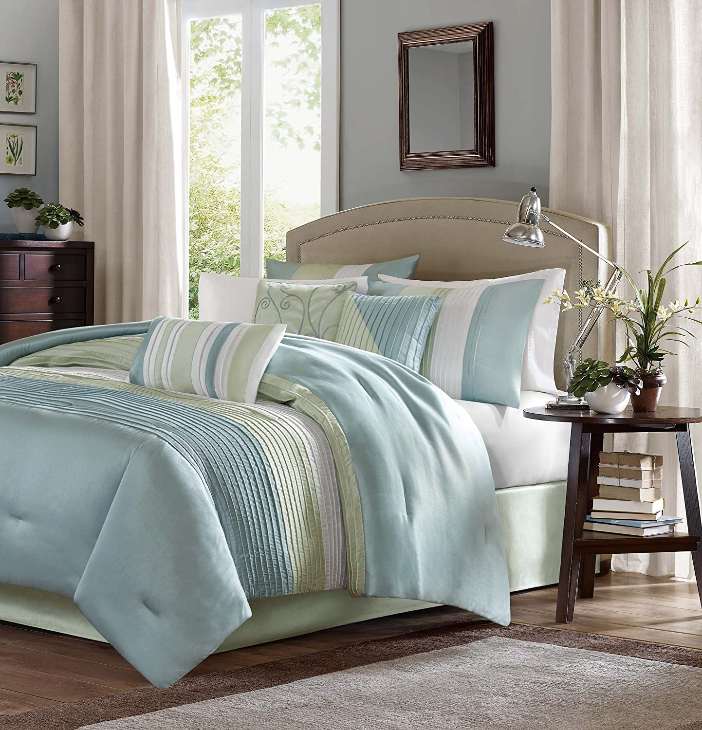 Madison Park Carter Comforter Set, King, Green