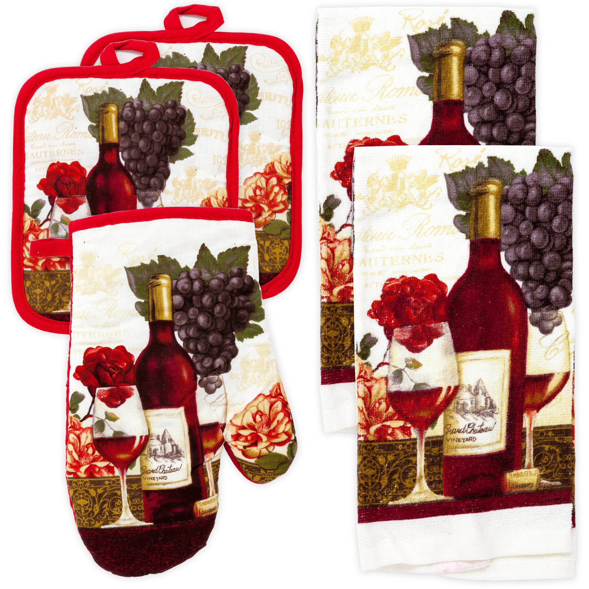 MJM Innovations Kitchen Towel Linen Set of 5 Pieces | 2 Towels 2 Potholders & 1 Oven Mitten | Featuring Wine Vineyard Grapes, Wine Glass & Bottle, Red Rose Flower, Bordeaux Chateau Roma (Wine)