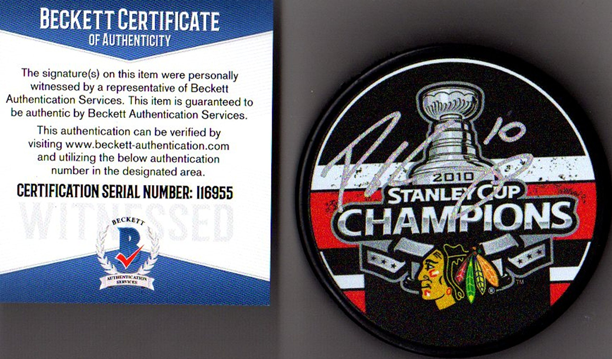 Beckett BAS Patrick Sharp Autographed Signed 2010 Stanley Cup Champions Puck