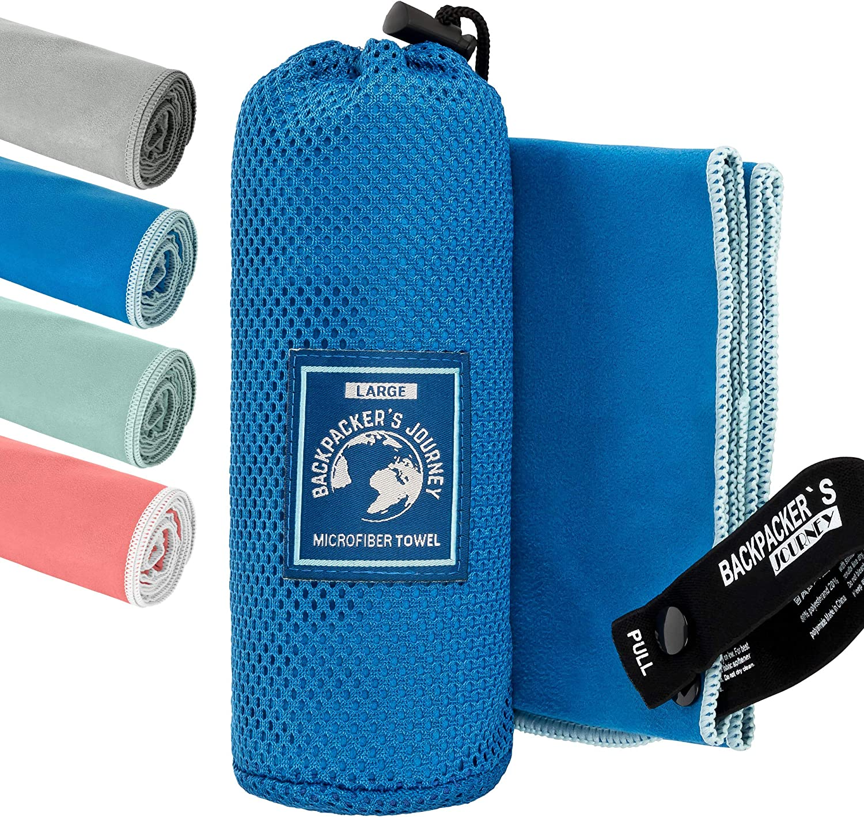 absorbante et antibact/érienne Serviette de Voyage l/ég/ère /à s/échage Rapide Backpackers Journey Serviettes en Microfibre en S M L XL