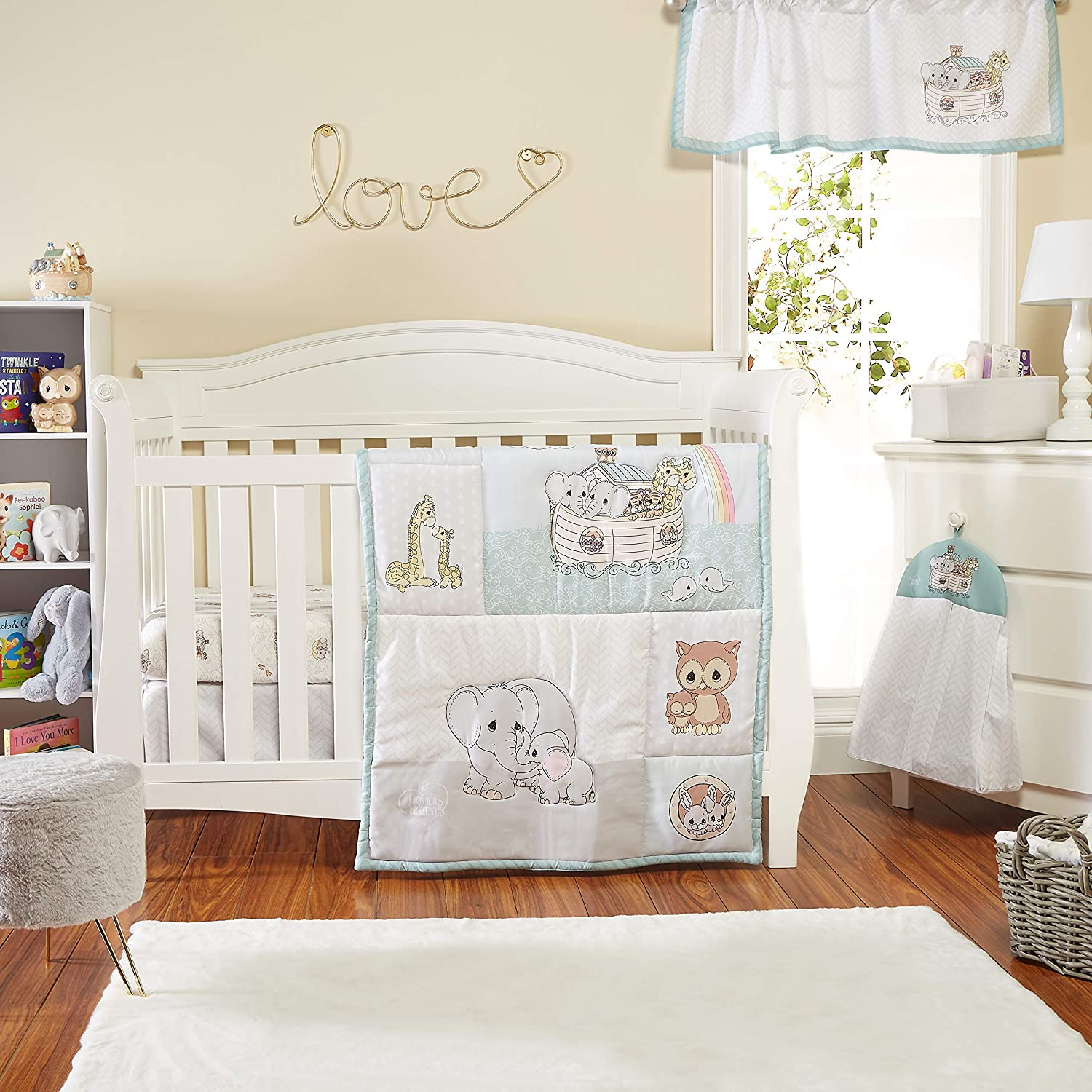 Precious Moments Noah's Ark 4 Pc Crib Bedding for Boys by Everyday Kids; Nursery Set Includes Baby Bed Quilt, Fitted Sheet, Dust Ruffle and Diaper Stacker with Sweet Images of Elephants and Giraffes …