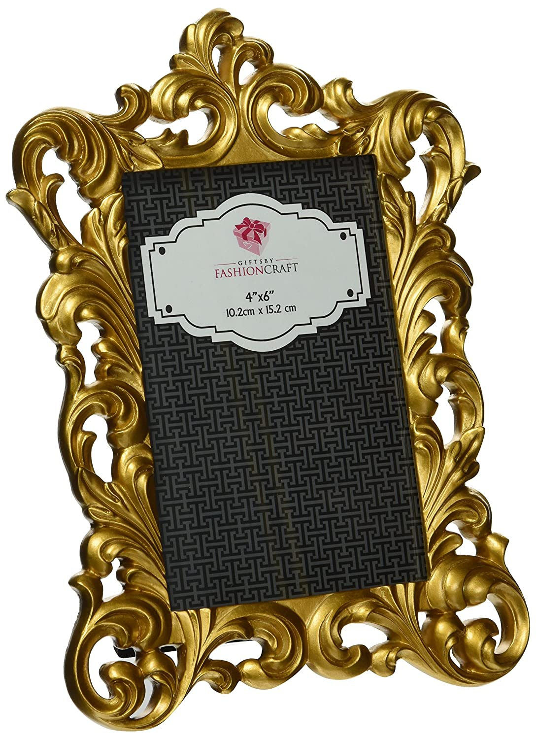 Item #105018 Measures 9.5 inch x 6.5 inch Decor Accent Fashioncraft Gold Metallic 4 x 6 inch Baroque Polyresin Photo Frame