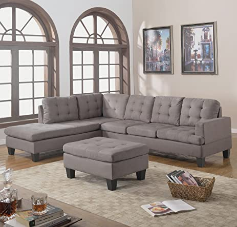 3pc Modern Reversible Grey Charcoal Sectional Sofa Couch with Chaise and Ottoman - Grey Living Room : gray sofa sectional - Sectionals, Sofas & Couches