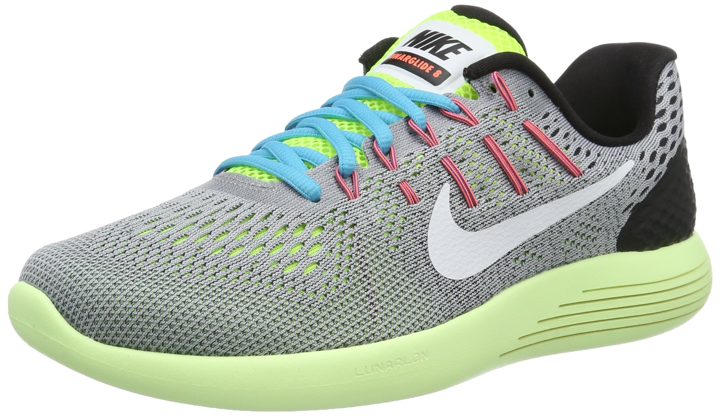 Galleon - NIKE Mens Lunarglide 8 Running Shoes Wolf Grey White Volt Gamma  Blue 843725-017 Size 9.5 3520f8bd778