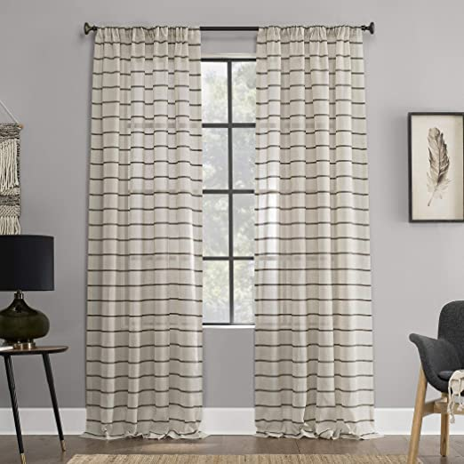 Clean Window Twill Stripe Allergy//Pet Friendly Anti-Dust Sheer Curtain Panel 52 x 84 Black//Linen