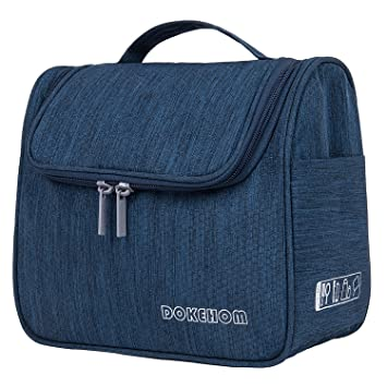 38db8ed77 DOKEHOM Neceser de Viaje para Colgar Bolsas de Aseo Cosméticos Organizador  Accesorios de Baño Material Resistente y Impermeable Bolsas (Azul Oscuro):  ...