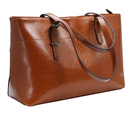 Iswee Women s Leather Handbags Top Handle Tote Shoulder Bag Ladies Designer Purses  Large Capcity Fashion Bag 0c5a324fca6df