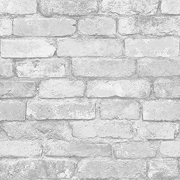 Merveilleux Blanc Et Argent Brique Rustique Effet Papier Peint   Windsor Revêtements  Muraux FD41488