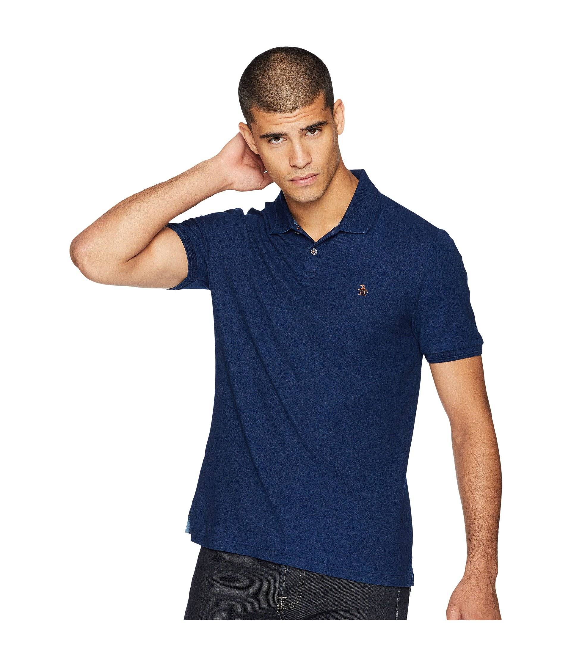 Original Penguin Men's Classic Fit Daddy-O Polo, Dark Indigo 2.0, Medium