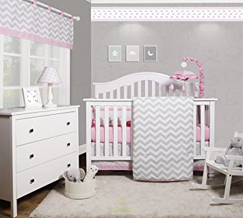Attractive GEENNY OptimaBaby Pink Grey Chevron 6 Piece Baby Girl Nursery Crib Bedding  Set