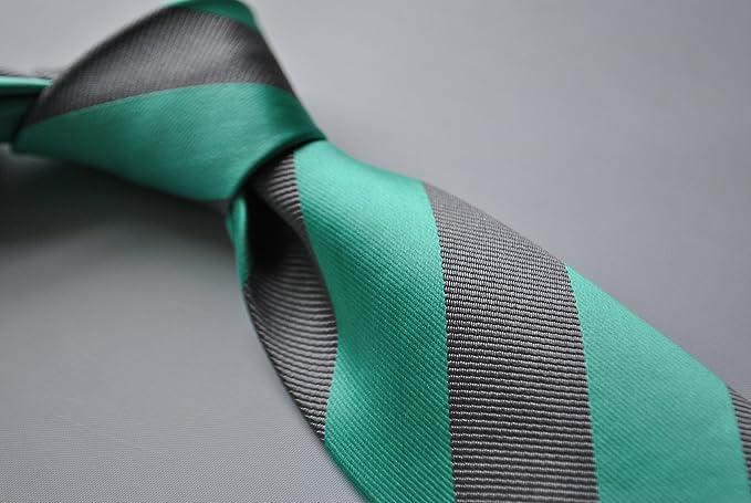 Frederick Thomas - Aguamarina y plata gris de rayas de corbata con ...