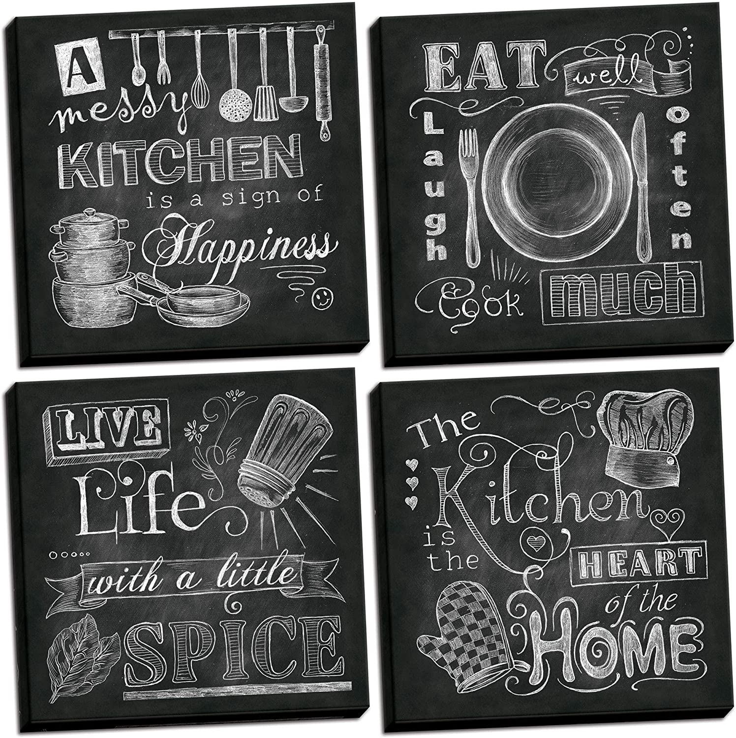 Amazon Com Beautiful Fun Chalkboard Kitchen Signs Messy Kitchen Heart Of The Home Spice Of Life And Cook Much Four 12x12in Stretched Canvases Ready To Hang Home Kitchen